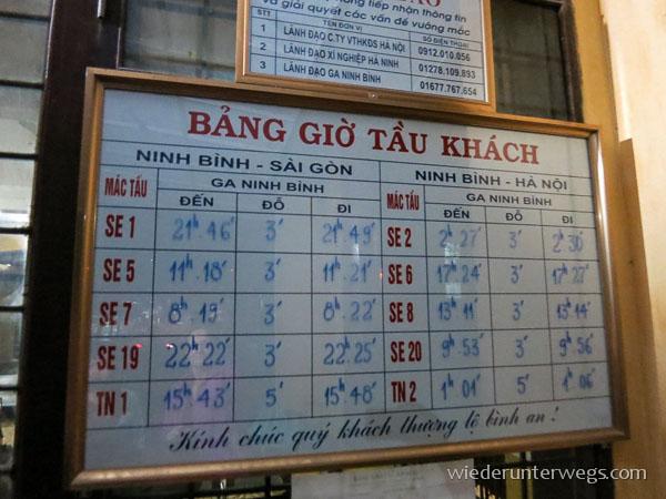 Anzeigetafel Vietnam