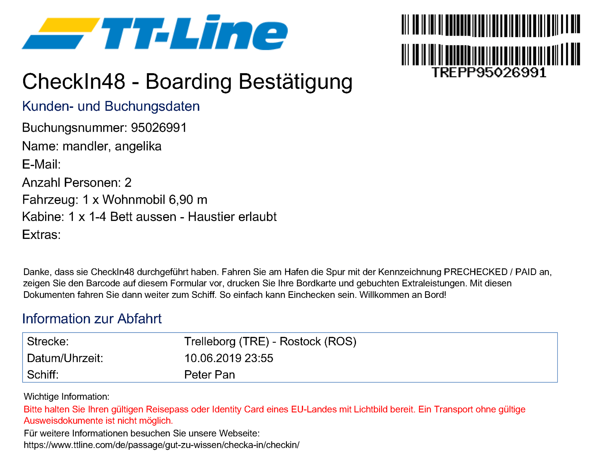 TT Line Online Checkin Bestätigung Schweden Trelleborg Dokument