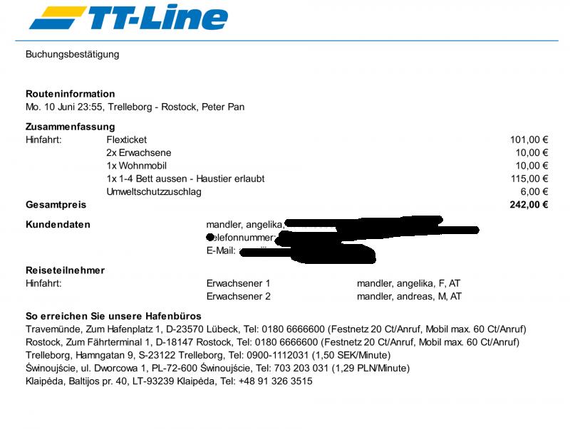 TT Line bestätigung online buchung schweden