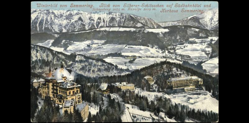 schneeberg panorama vom silbererschlösschen aus, alte postkarte
