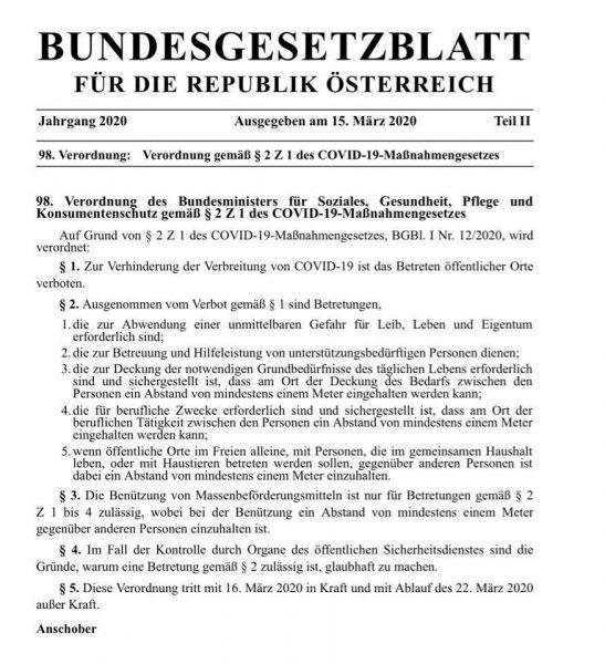 Ausgangsbeschränkung österreich
