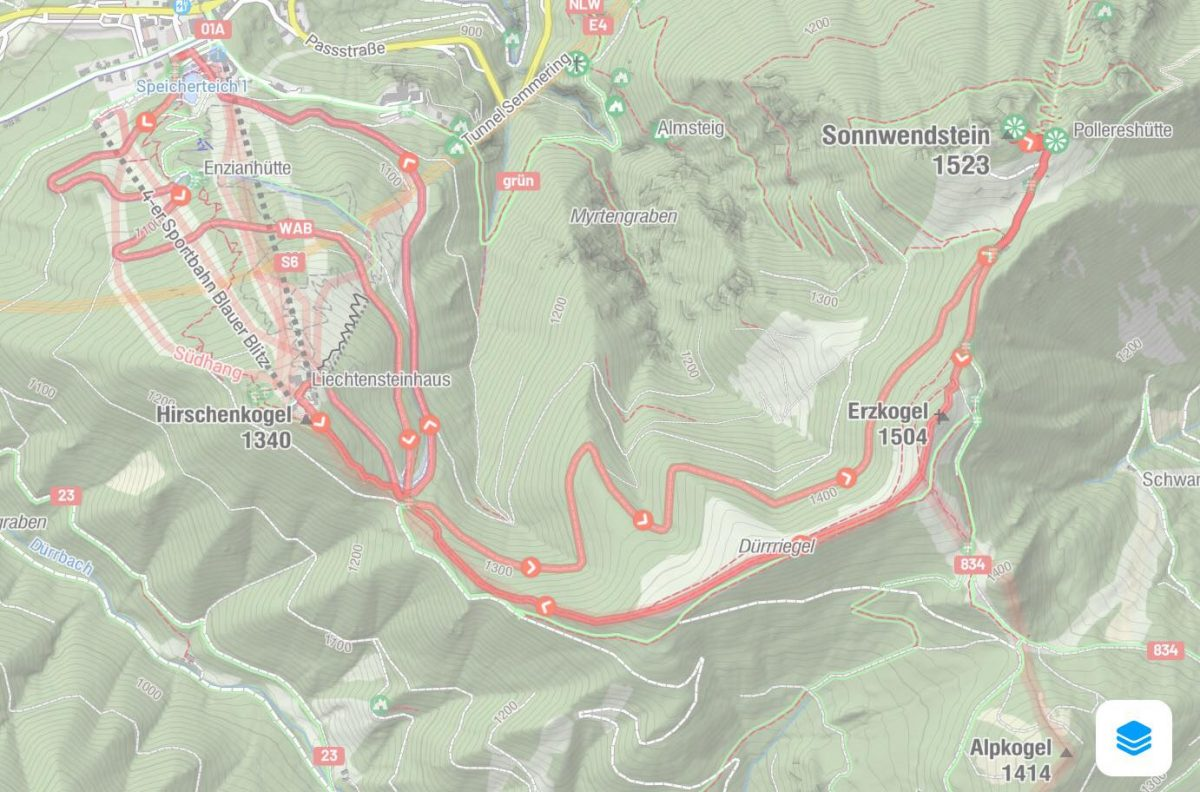 Route Wanderung Semmering