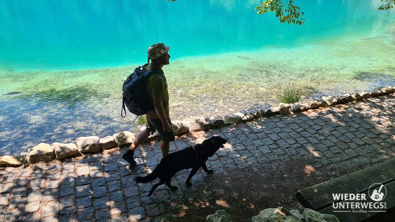 mann und hund im nationalpark am türkisenen see plitvice