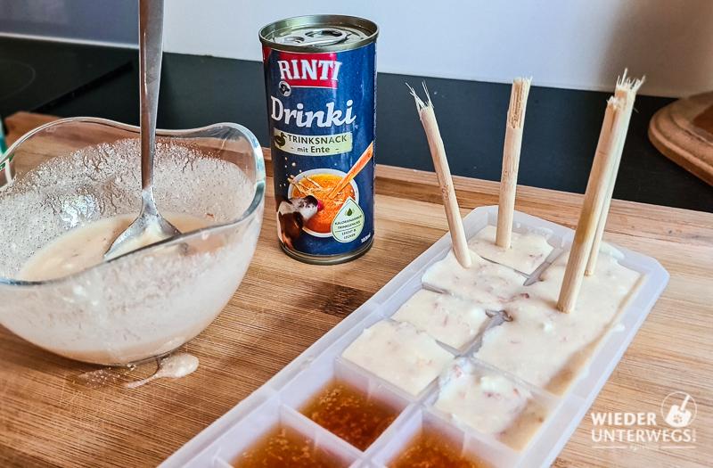 Verarbeitung Rinti Drinki als Eis und Eisbonbon