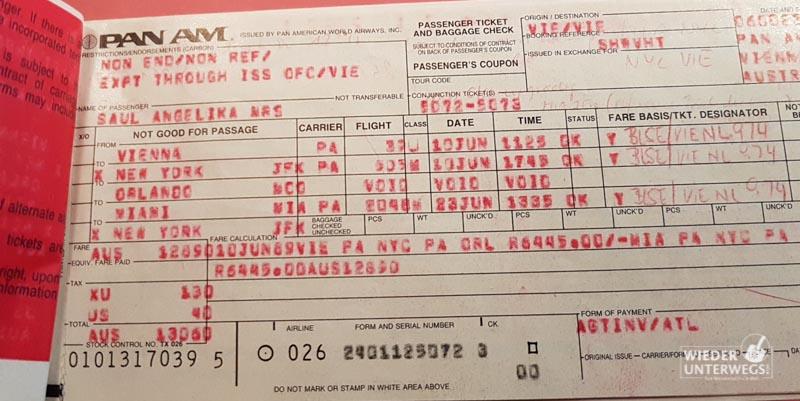 Mein PANAM Ticket aus 1989. Bei mir kommt nichts weg.