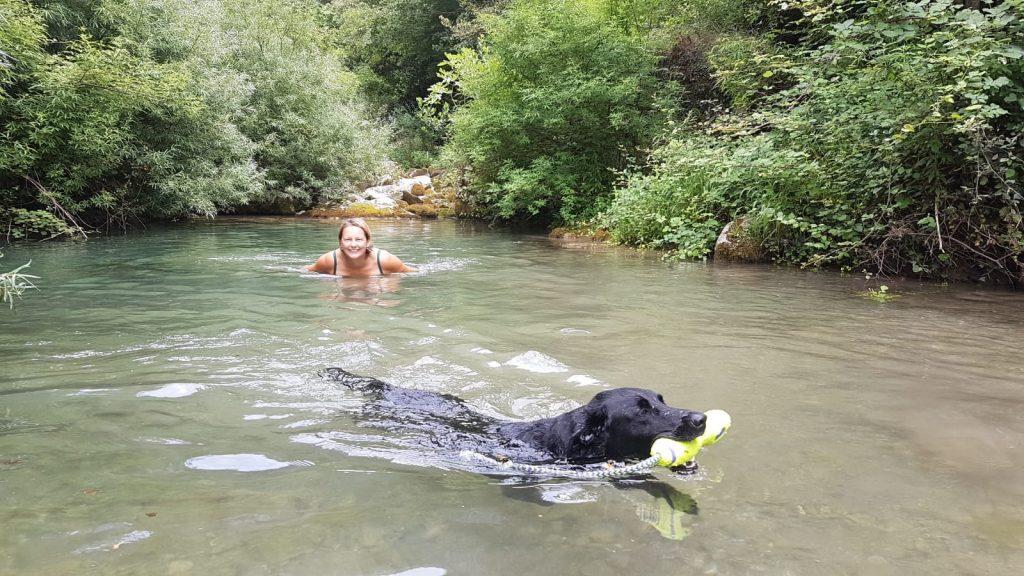 Fluss montenegro baden mit hund