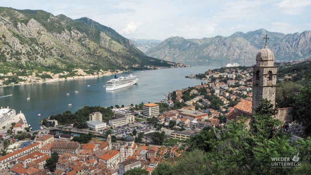 Montengro Urlaub Blick auf Kotor